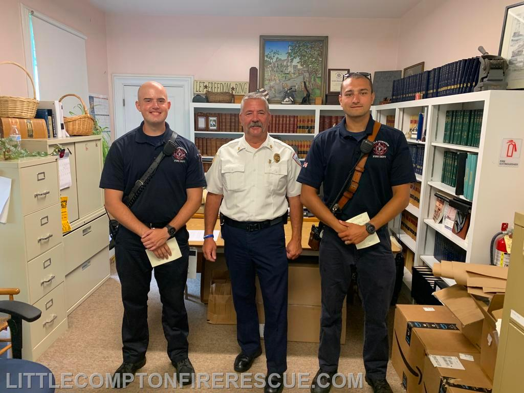Recruit Peirce, Chief Petrin, FF J Bednarz