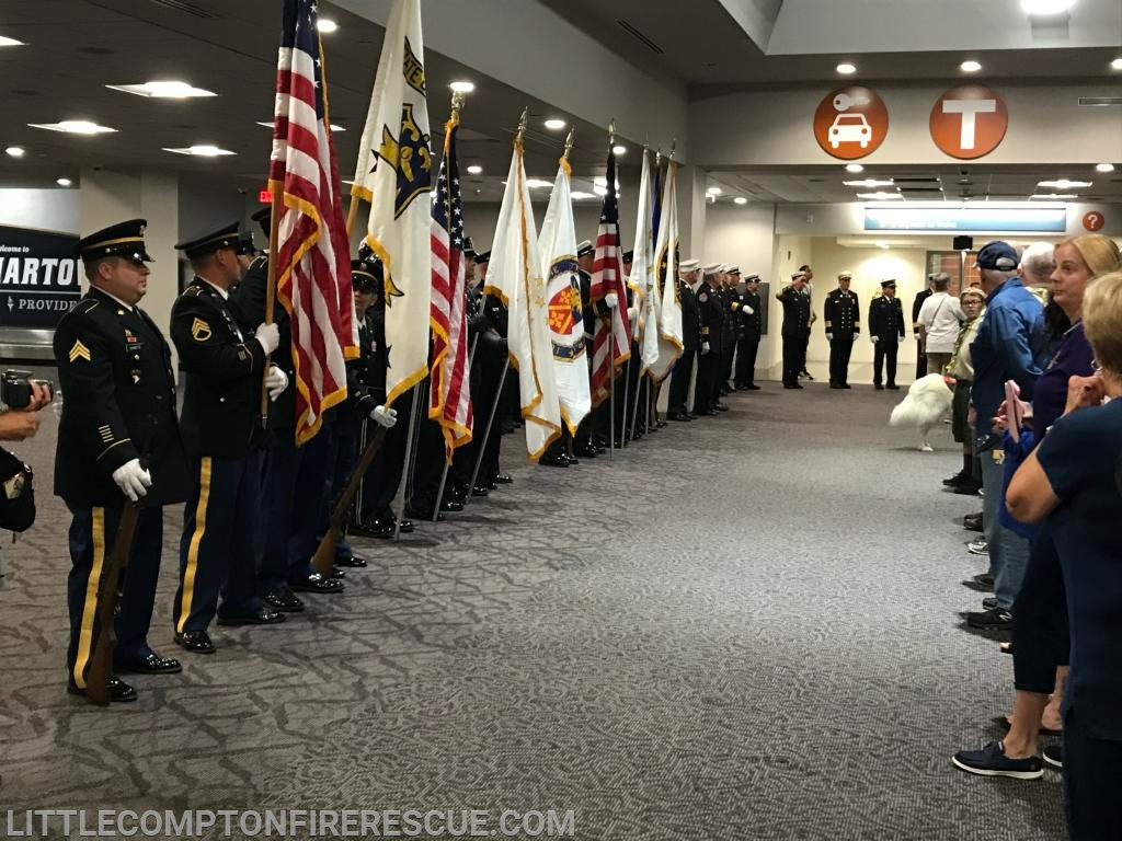 Honor Guards Lined up awaiting the arrival of the 24 Veterans and their Guardians