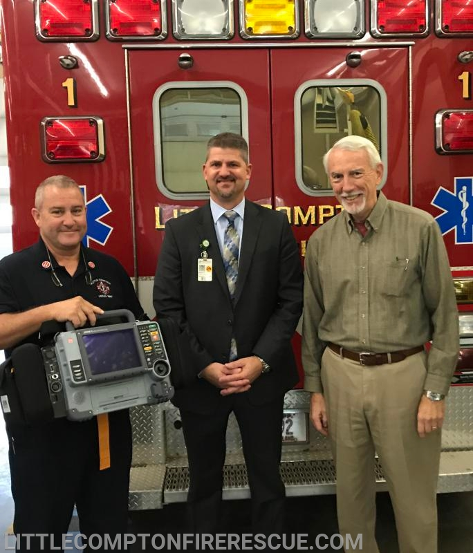 Capt Randy Watt, Brian Giorgianni - EMS Coordinator for Southcoast Hospitals Group, Town Council President Robert Mushen (Left to Right)